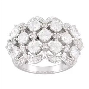 Sterling Silver White Zircon Large Ring